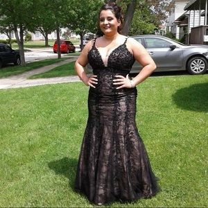 Prom Dress, formal dress, black and nude